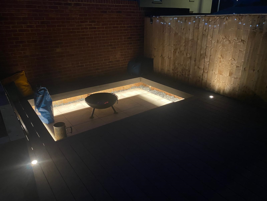Deck with firepit