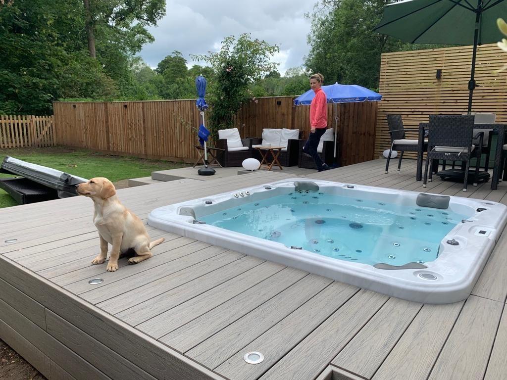 Garden deck with hot tub