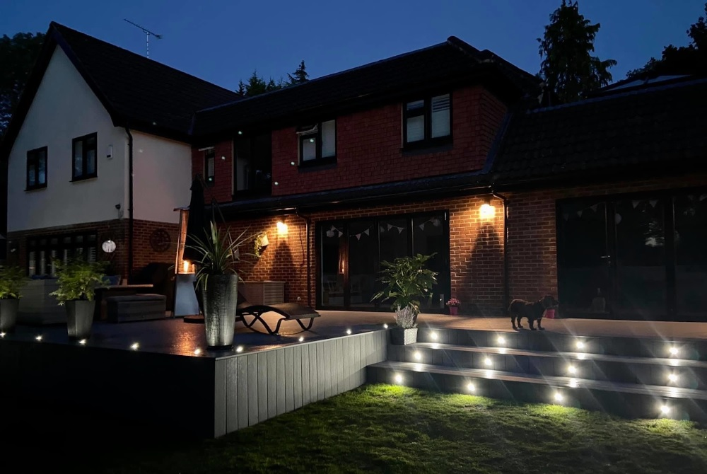Grey decking with lights