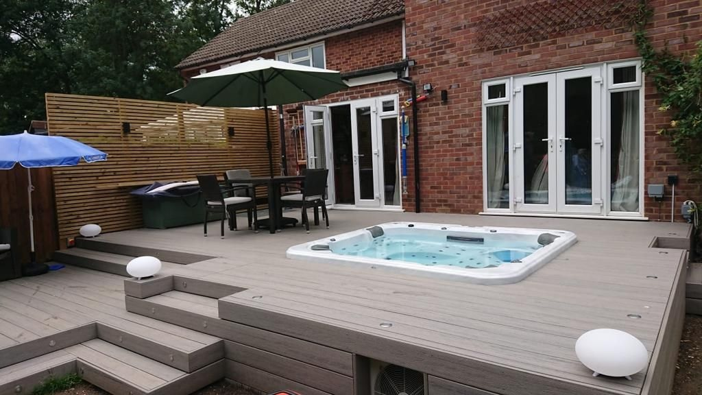 Composite decking with hot tub