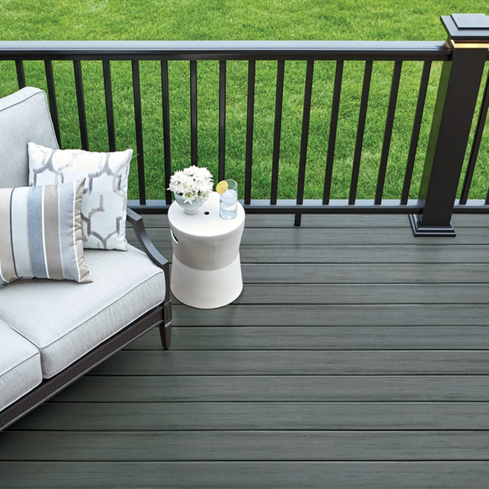 Composite decking with deck handrail