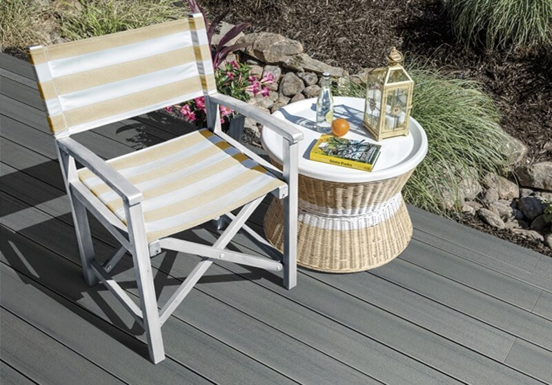 sea salt composite decking with chair