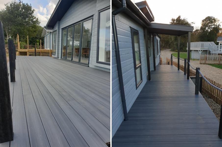 Grey composite decking in Suffolk